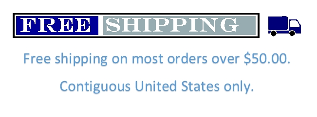 Free shipping on most orders over $50.00.  Contiguous United States only.